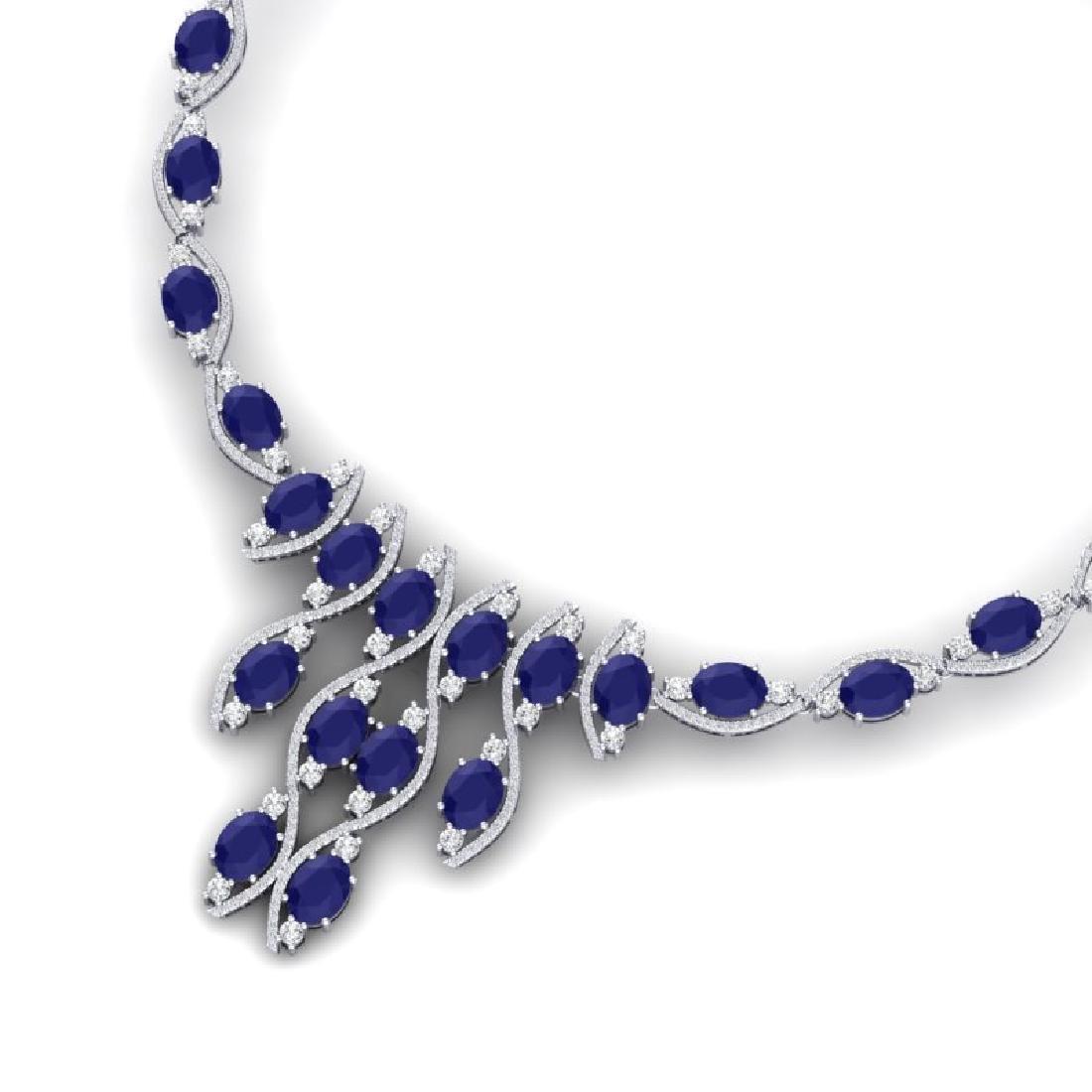65.93 CTW Royalty Sapphire & VS Diamond Necklace 18K