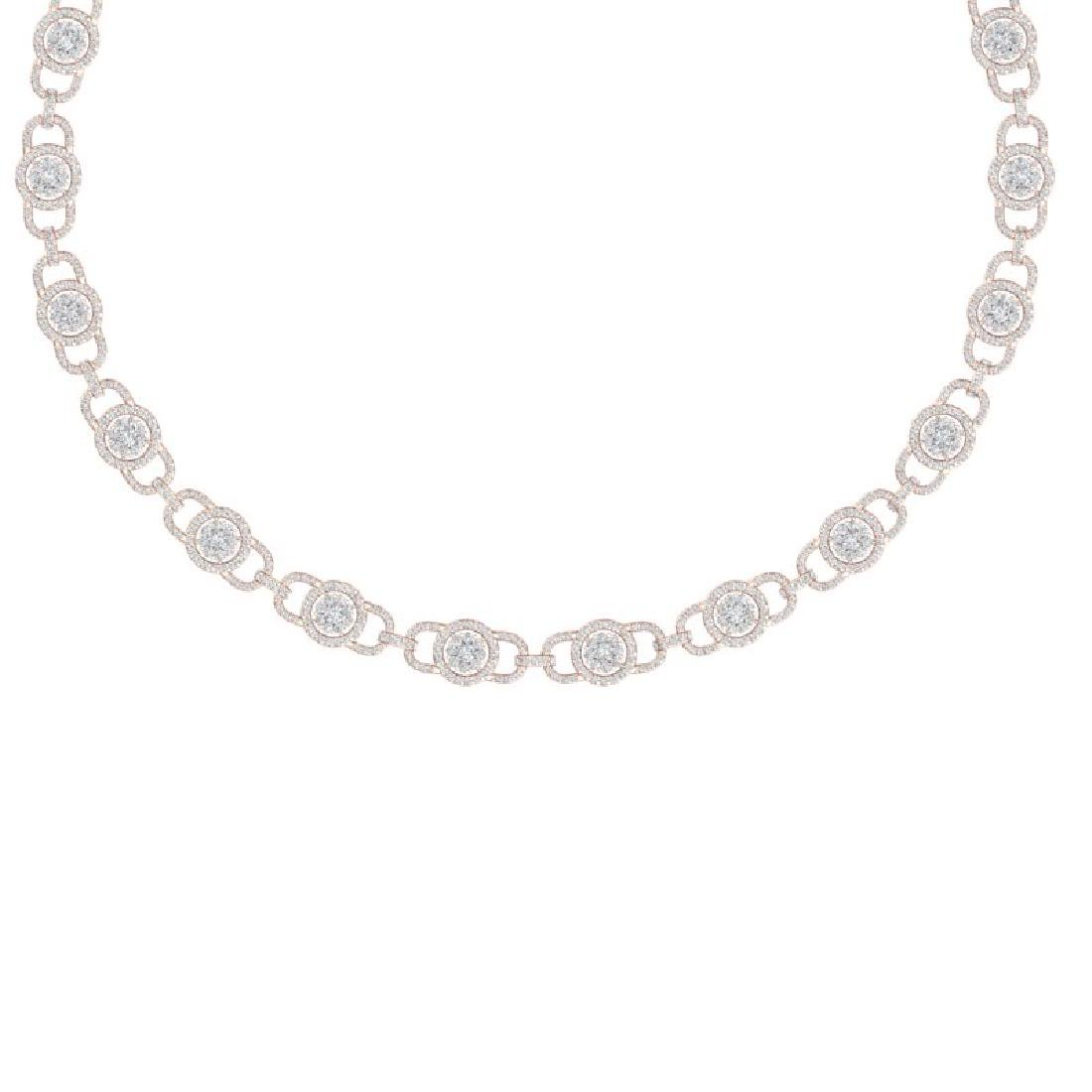 12 CTW Certified SI/I Diamond Halo Necklace 18K Rose