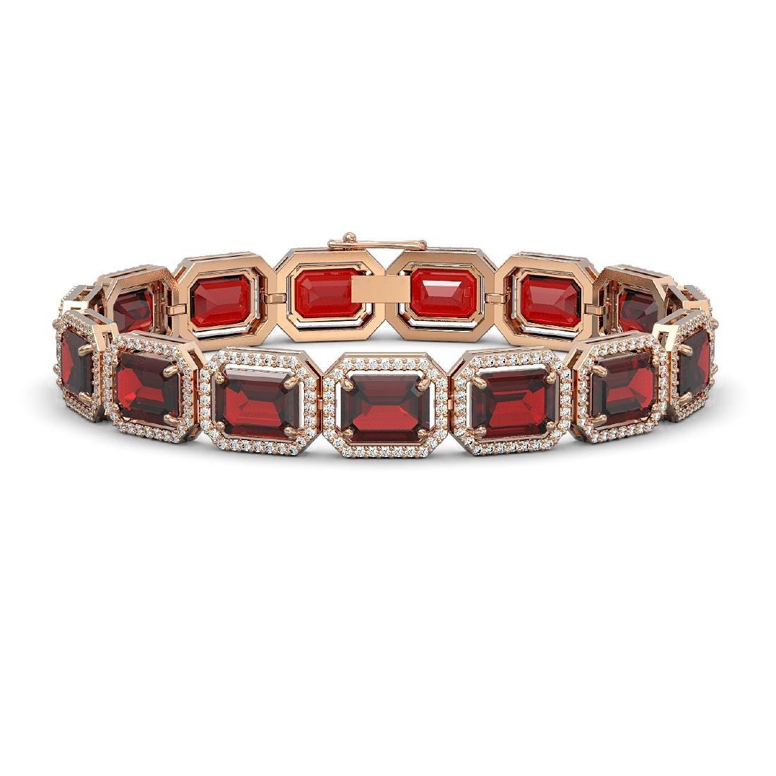 33.41 CTW Garnet & Diamond Halo Bracelet 10K Rose Gold