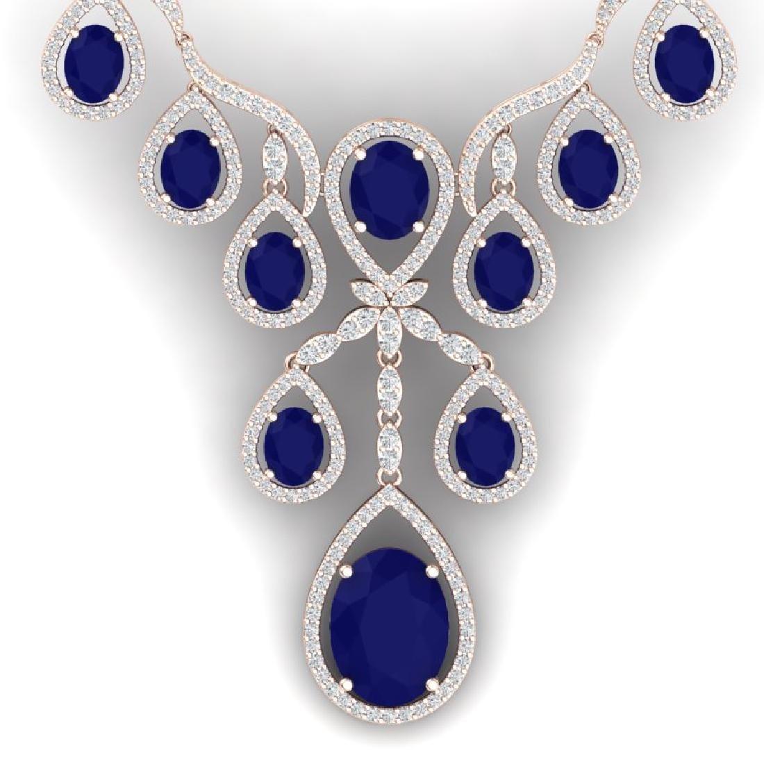 37.66 CTW Royalty Sapphire & VS Diamond Necklace 18K