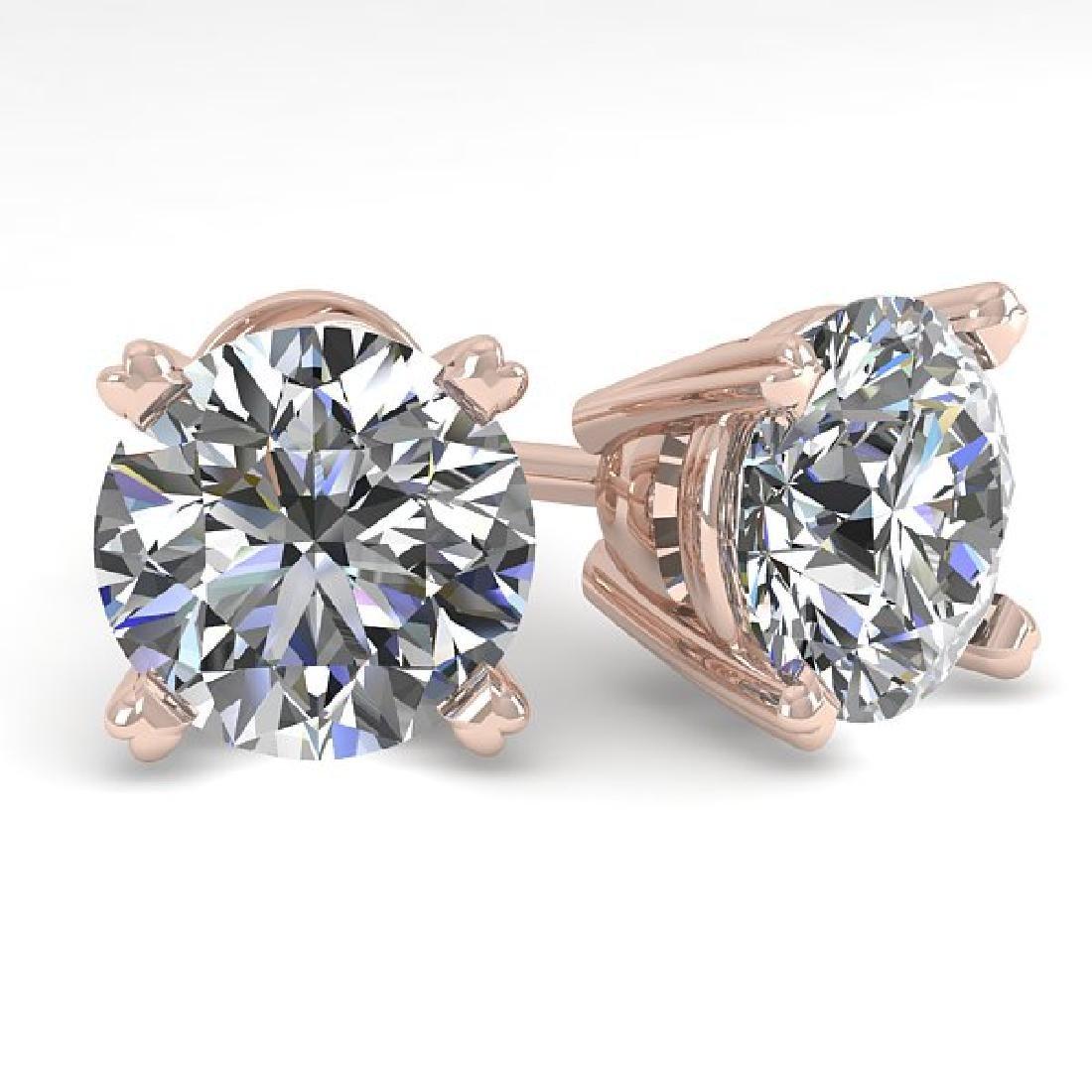 2.53 CTW Certified VS/SI Diamond Stud Earrings 18K Rose