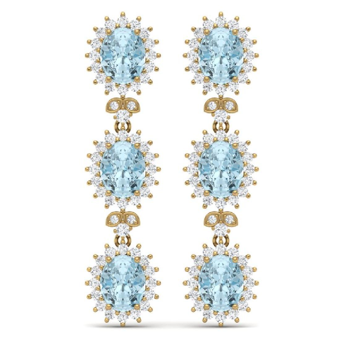 25.06 CTW Royalty Sky Topaz & VS Diamond Earrings 18K