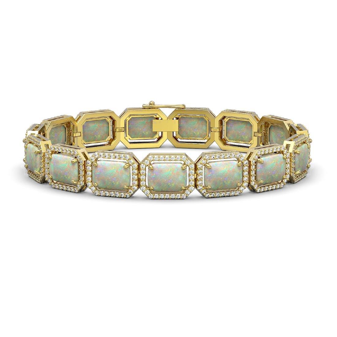 24.37 CTW Opal & Diamond Halo Bracelet 10K Yellow Gold