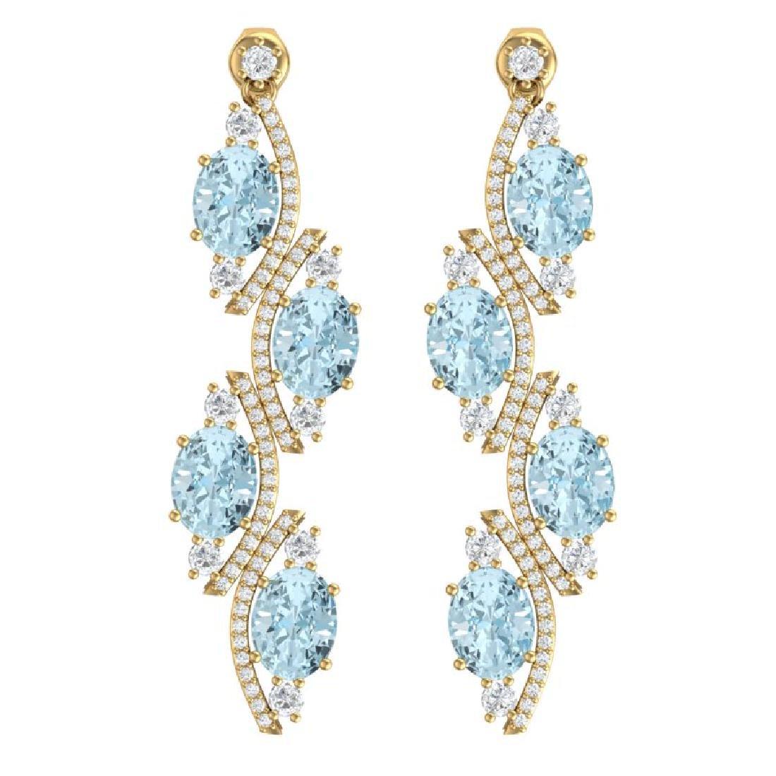 15.72 CTW Royalty Sky Topaz & VS Diamond Earrings 18K