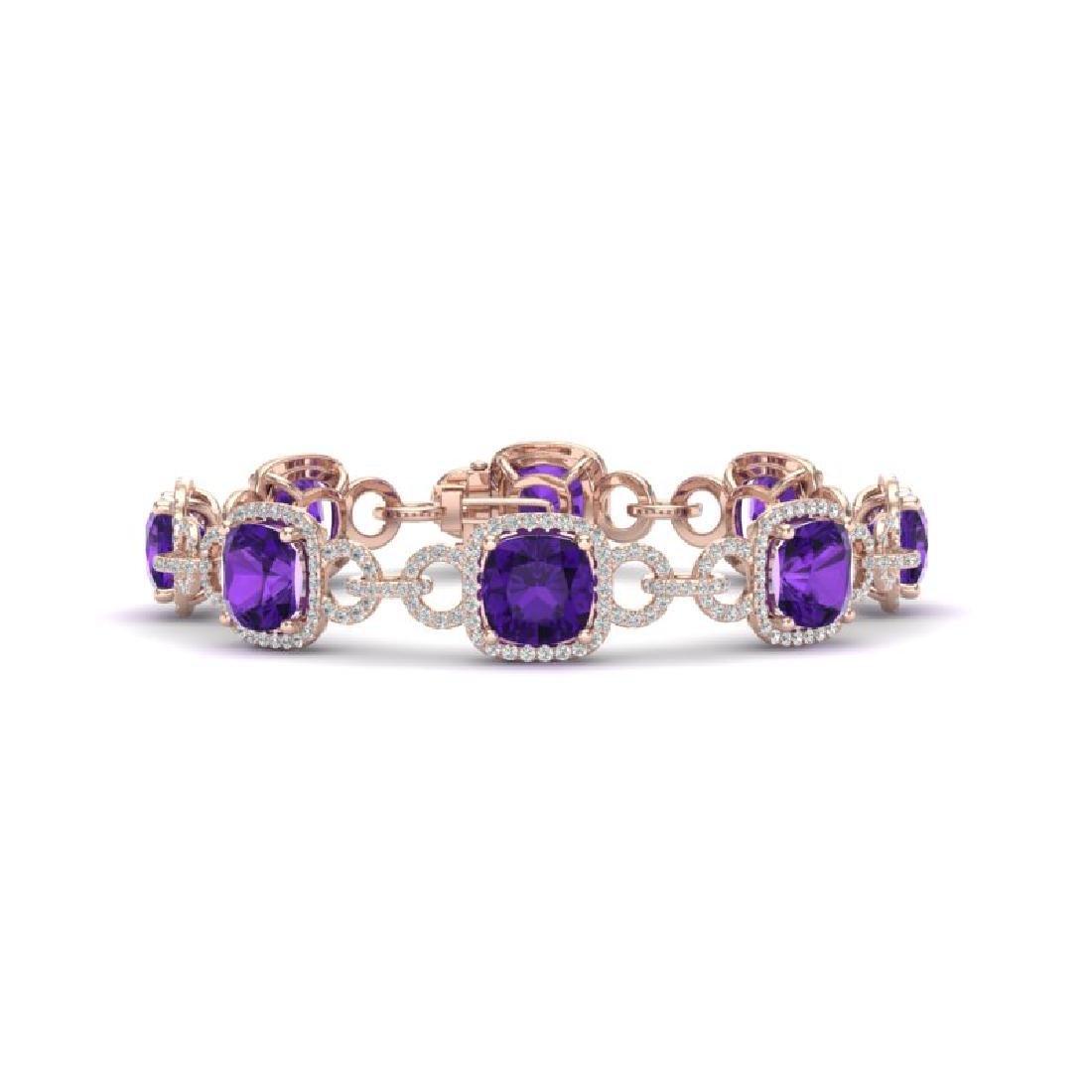 30 CTW Amethyst & VS/SI Diamond Bracelet 14K Rose Gold
