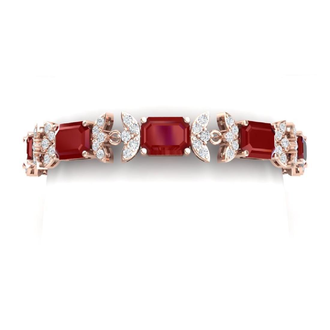 38.13 CTW Royalty Ruby & VS Diamond Bracelet 18K Rose