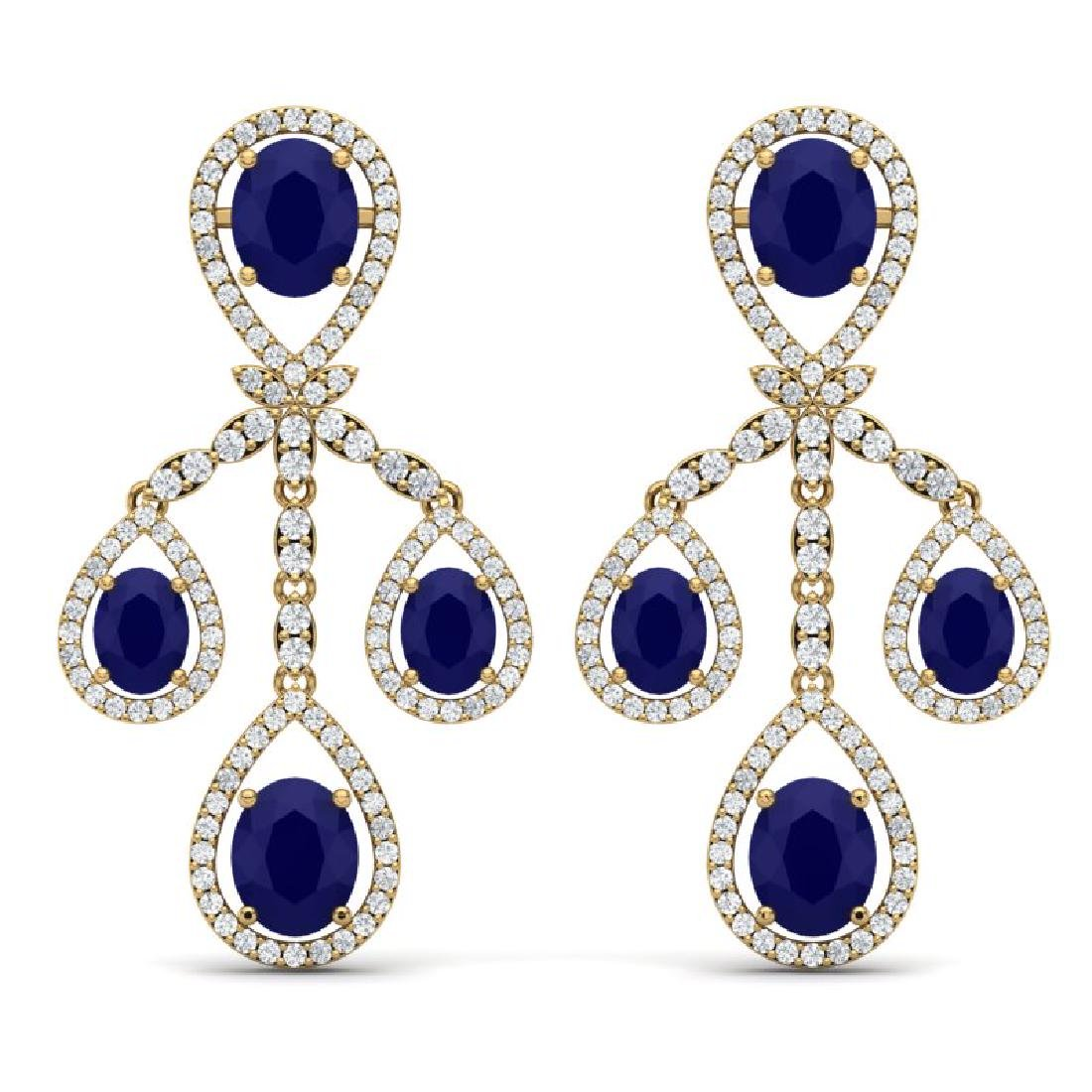 25.08 CTW Royalty Sapphire & VS Diamond Earrings 18K