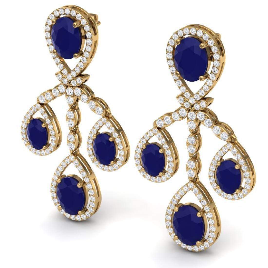 25.08 CTW Royalty Sapphire & VS Diamond Earrings 18K - 2