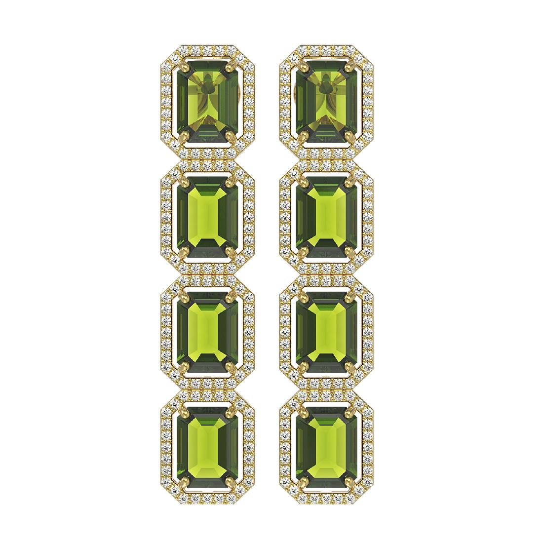 19.44 CTW Tourmaline & Diamond Halo Earrings 10K Yellow