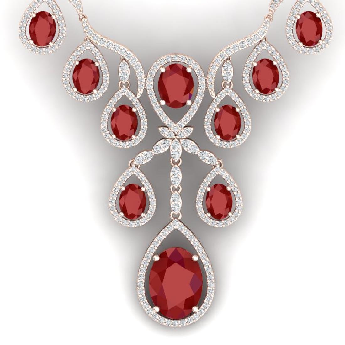 37.66 CTW Royalty Ruby & VS Diamond Necklace 18K Rose
