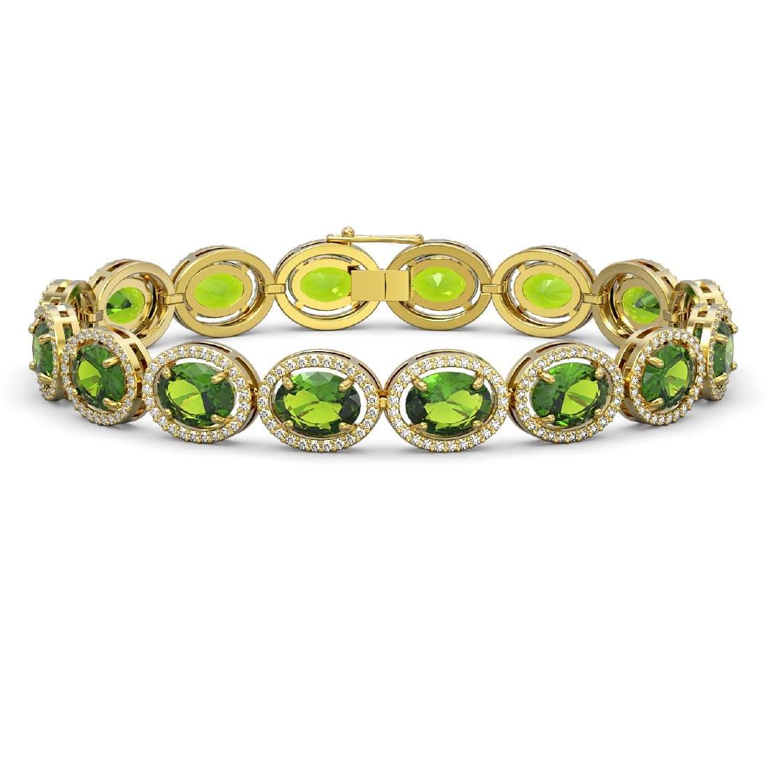 28.08 CTW Peridot & Diamond Halo Bracelet 10K Yellow