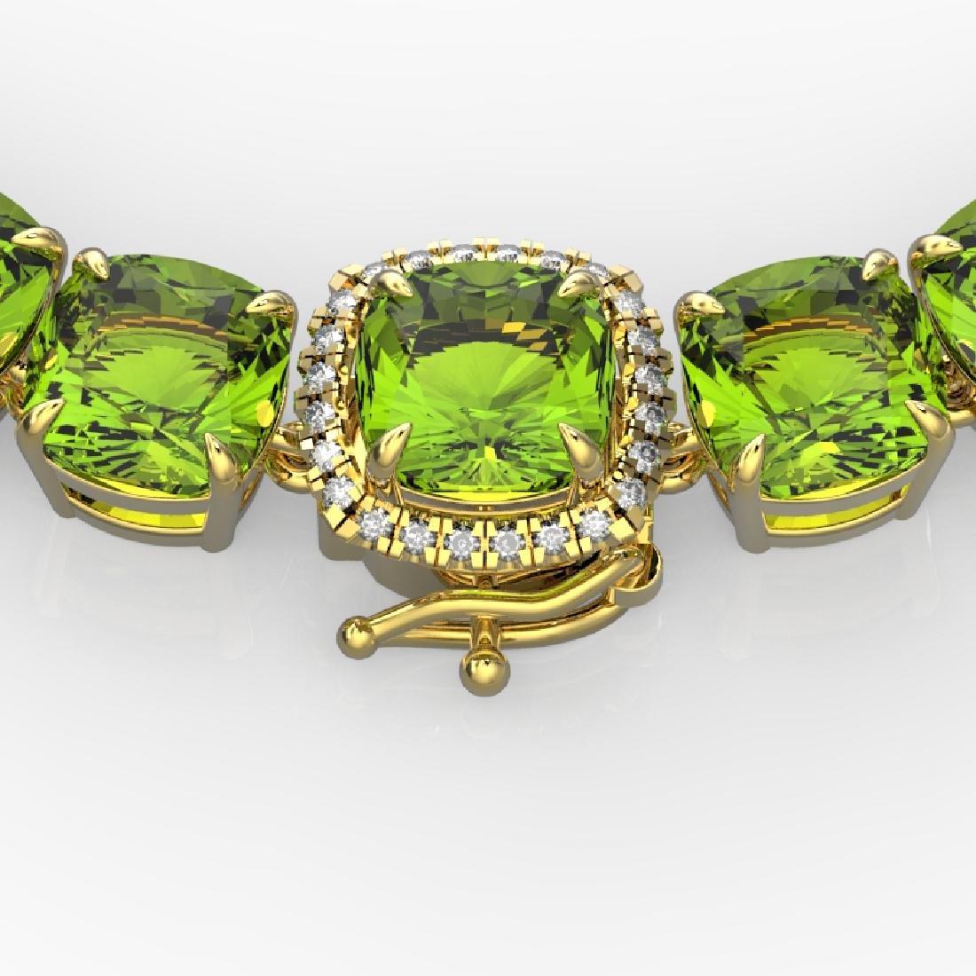 100 CTW Peridot & VS/SI Diamond Solitaire Necklace 14K