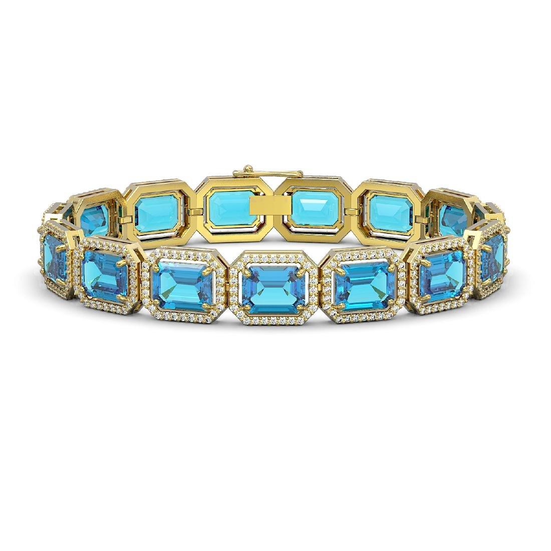 35.61 CTW Swiss Topaz & Diamond Halo Bracelet 10K