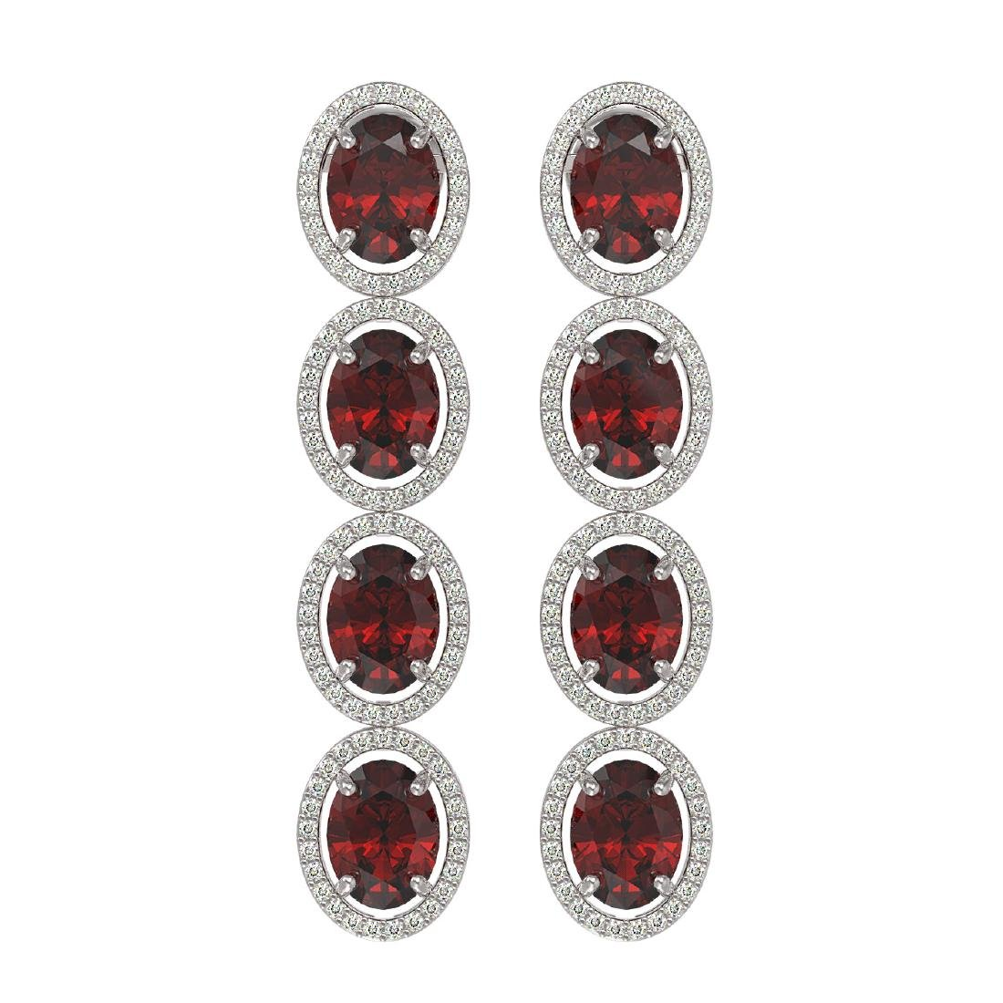 13.64 CTW Garnet & Diamond Halo Earrings 10K White Gold