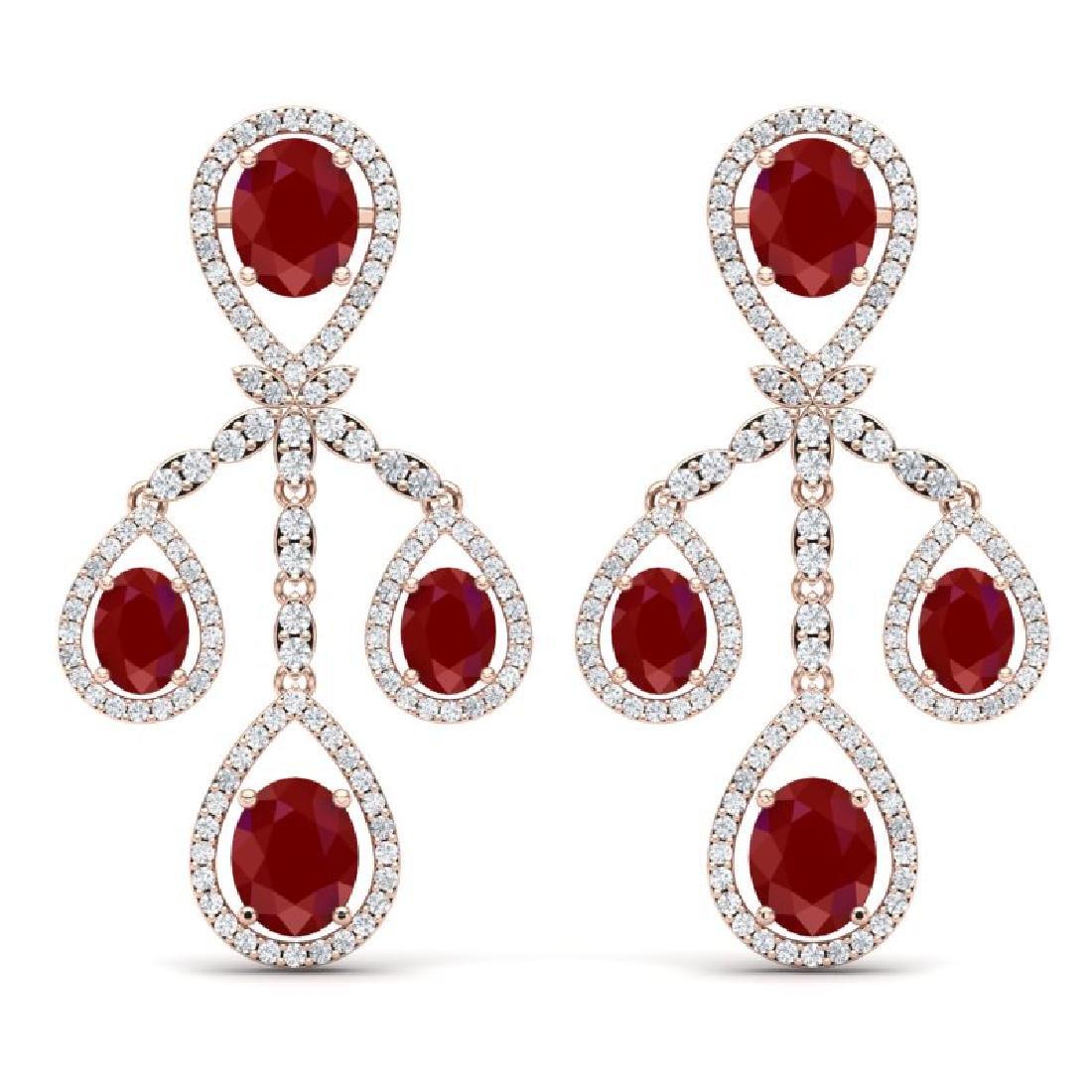 25.08 CTW Royalty Designer Ruby & VS Diamond Earrings