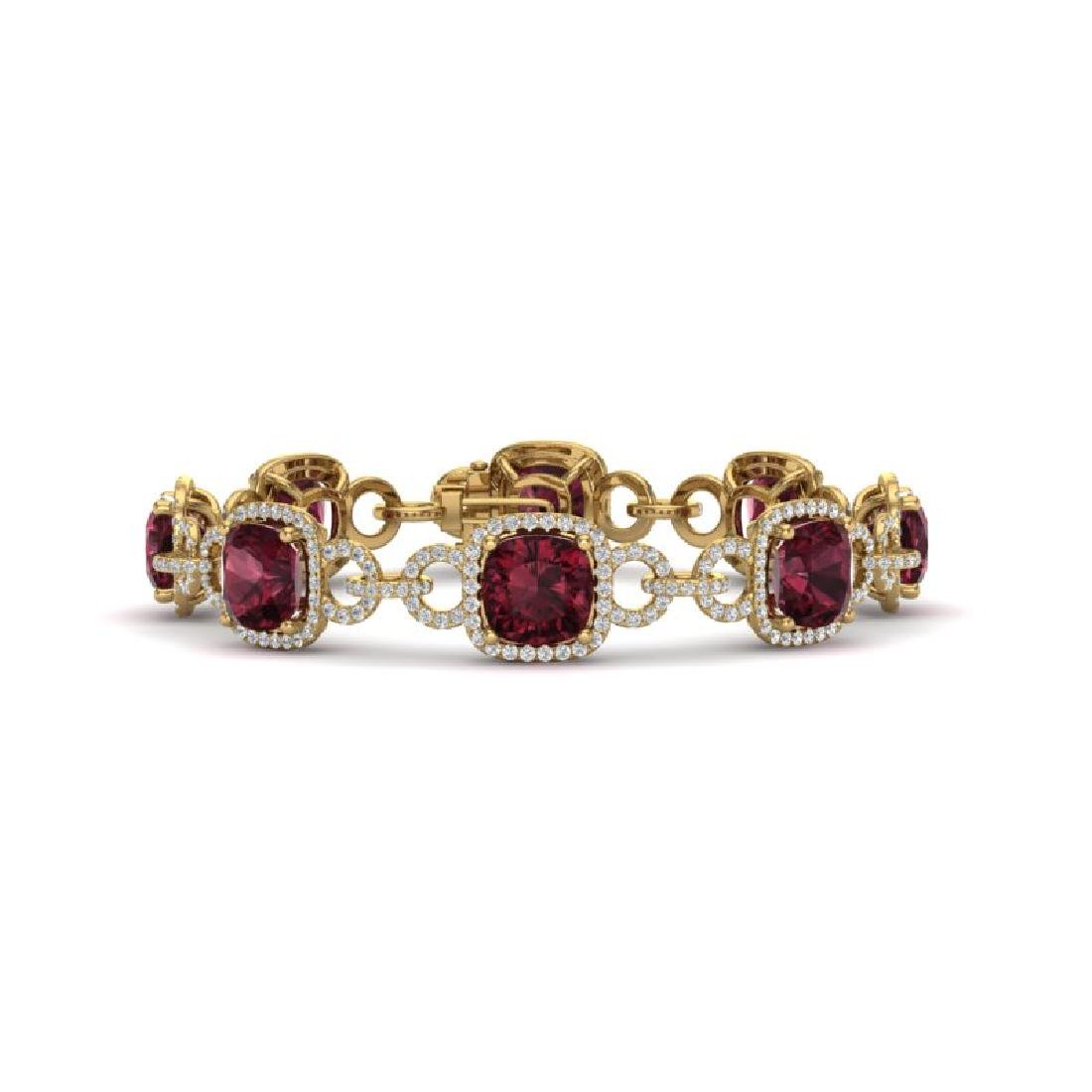 30 CTW Garnet & VS/SI Diamond Bracelet 14K Yellow Gold
