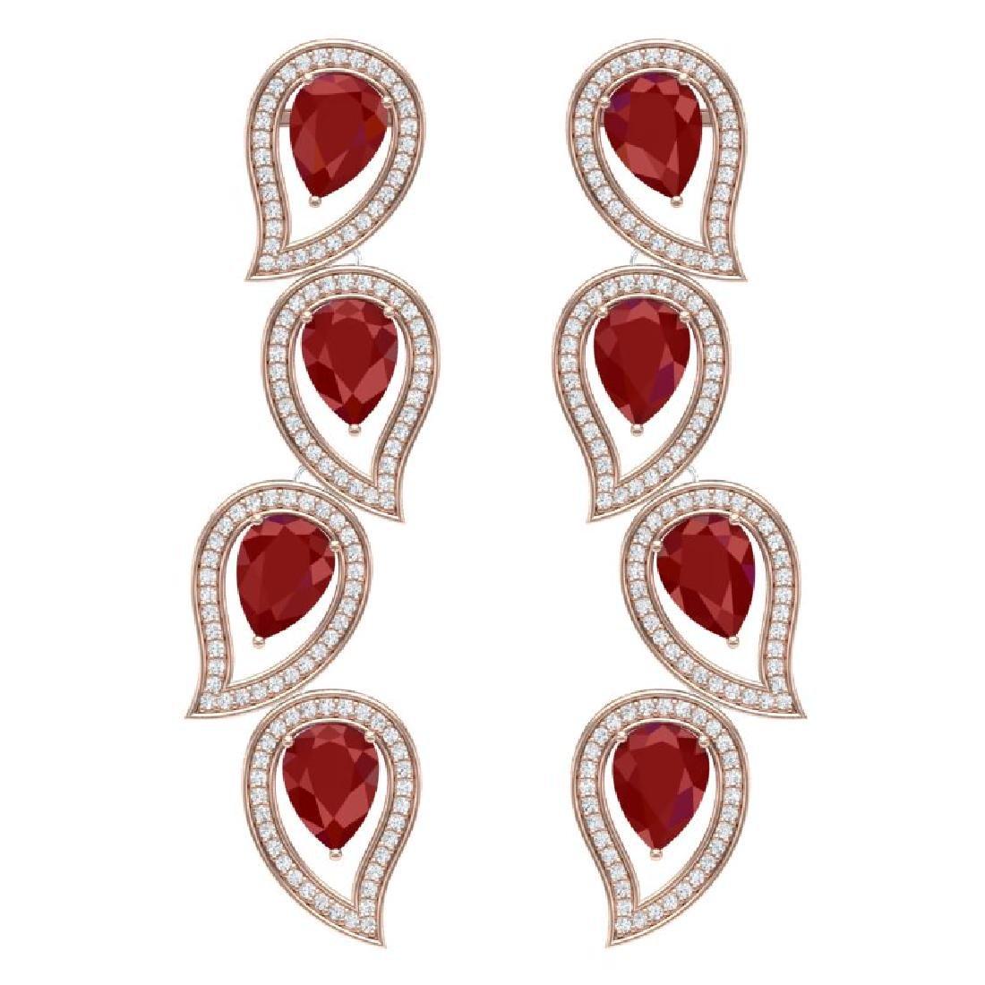 16.44 CTW Royalty Designer Ruby & VS Diamond Earrings
