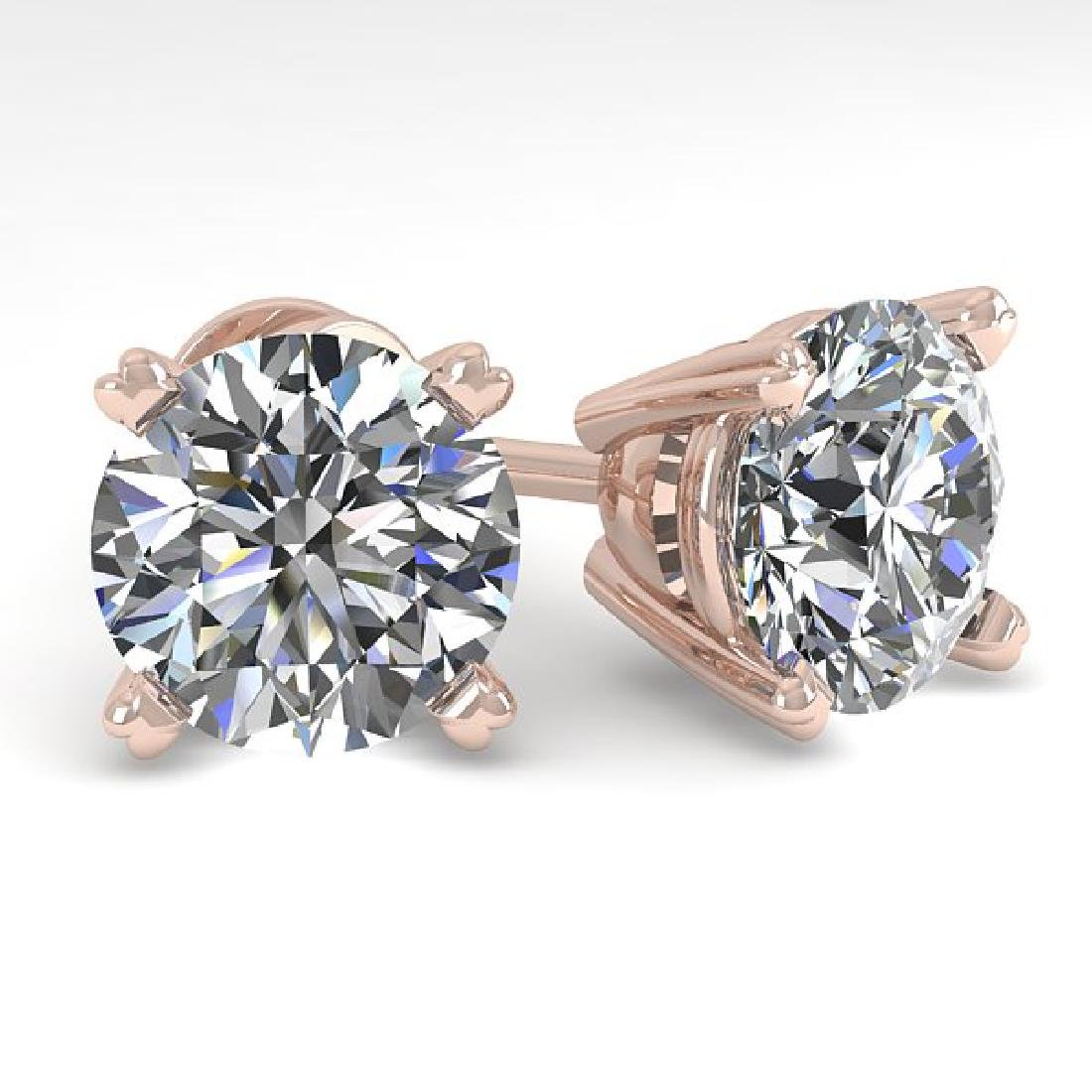 4 CTW Certified VS/SI Diamond Stud Earrings 18K Rose