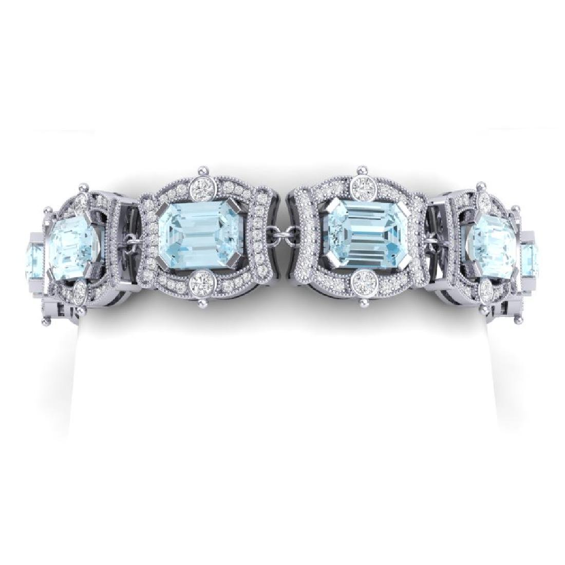 42.18 CTW Royalty Sky Topaz & VS Diamond Bracelet 18K