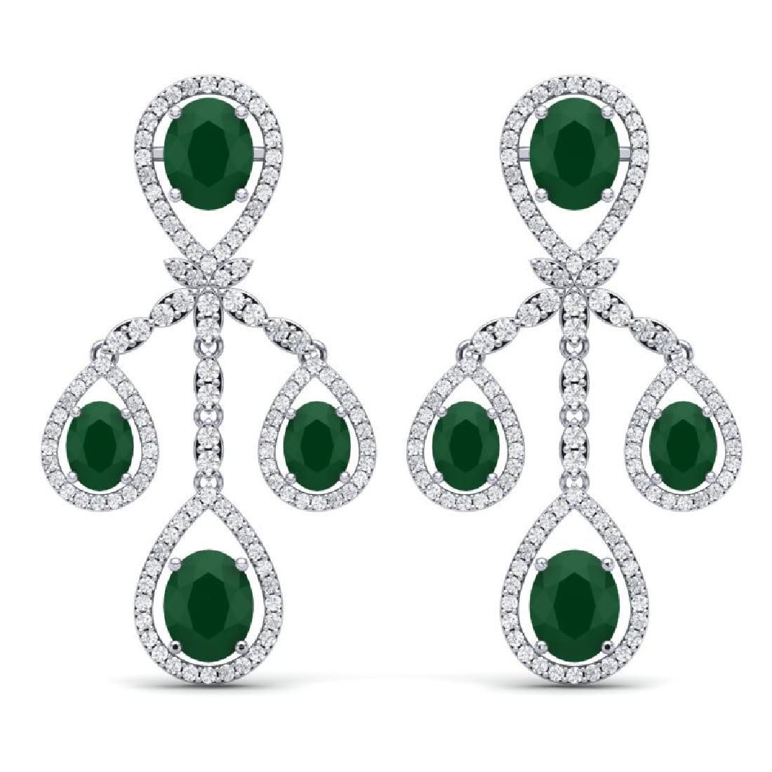 25.08 CTW Royalty Emerald & VS Diamond Earrings 18K