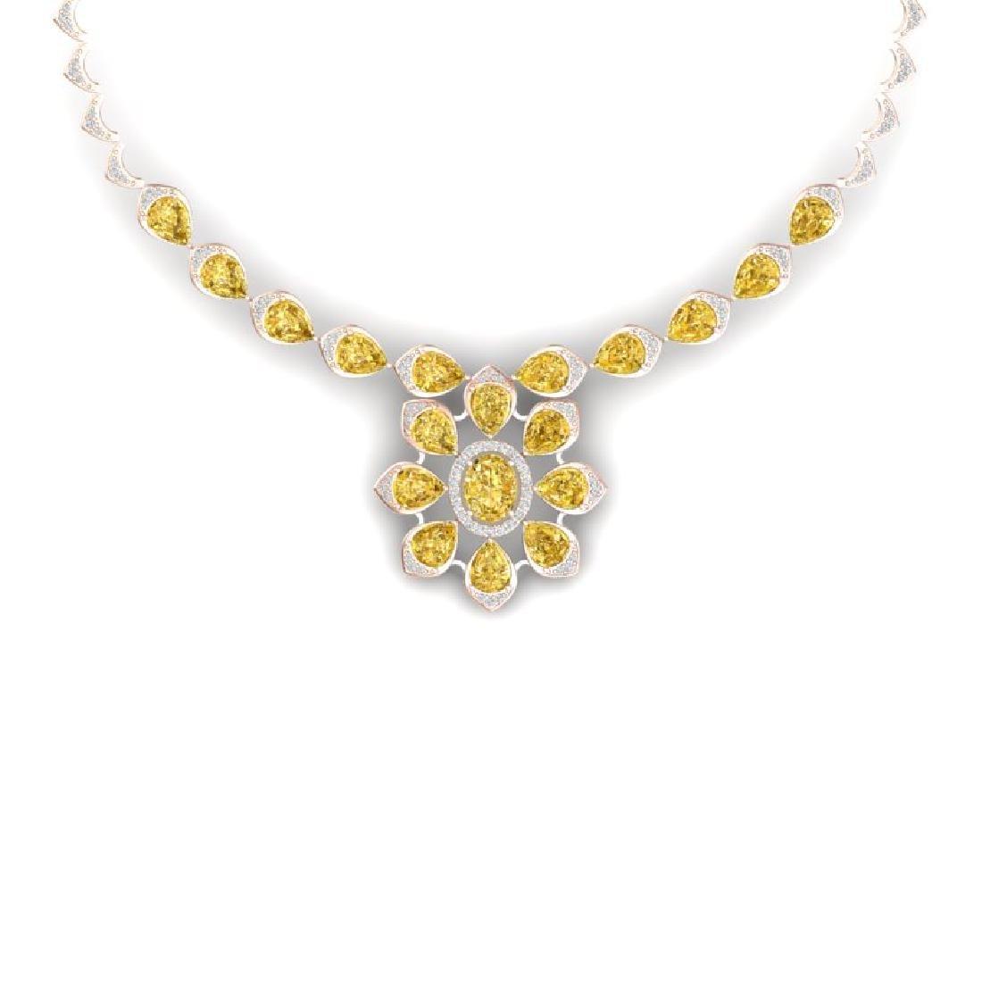 28.51 CTW Royalty Canary Citrine & VS Diamond Necklace