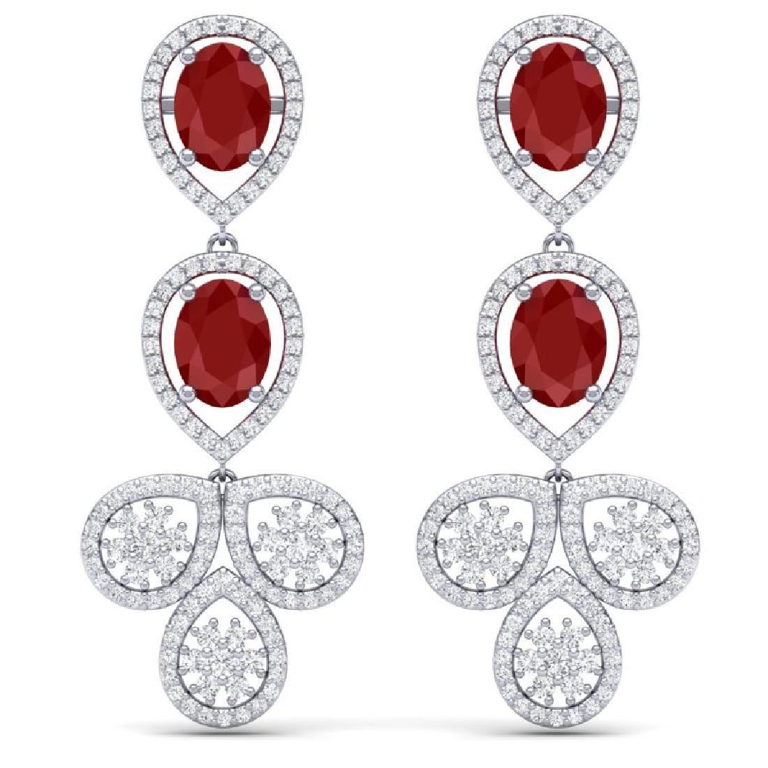 9.75 CTW Royalty Designer Ruby & VS Diamond Earrings