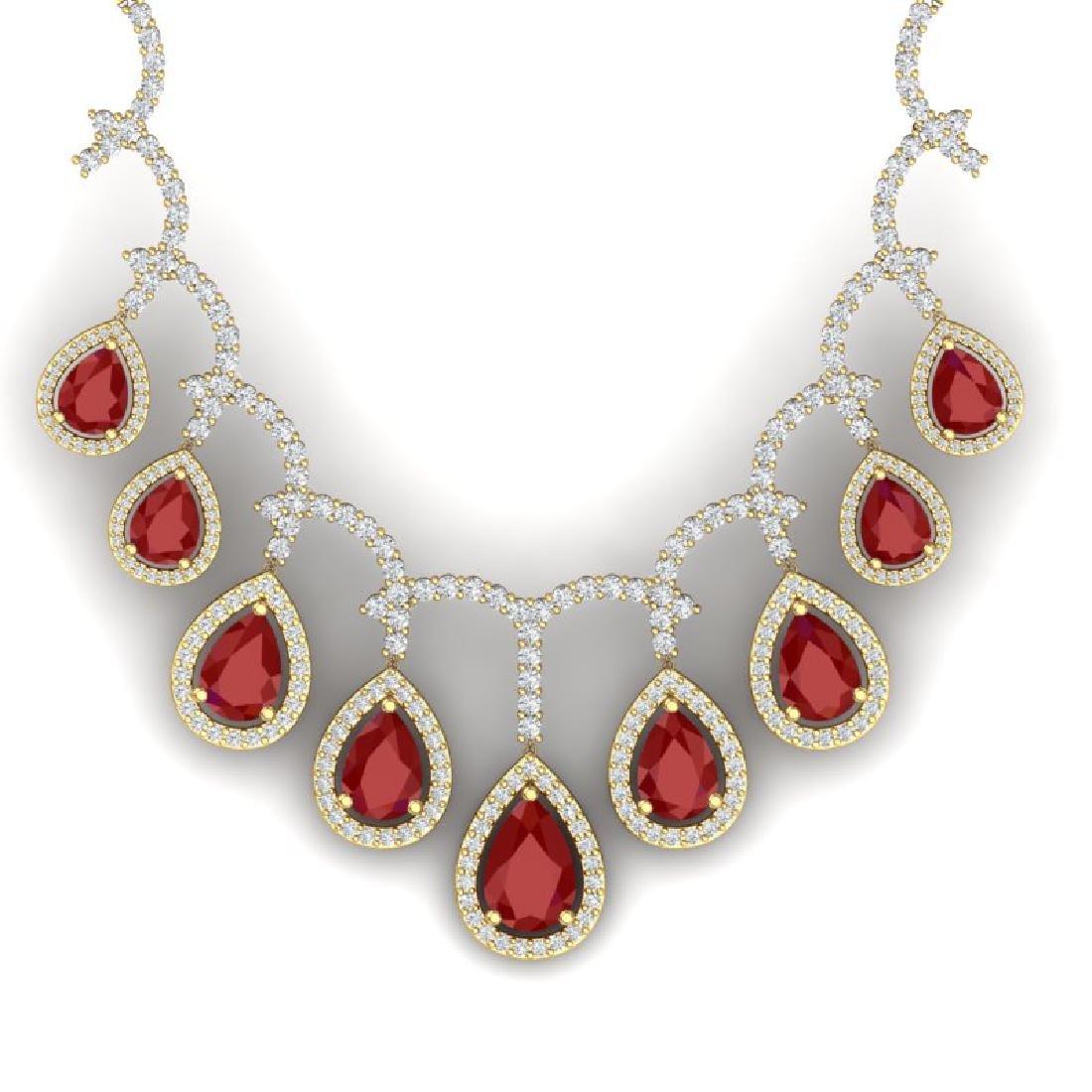 31.5 CTW Royalty Designer Ruby & VS Diamond Necklace