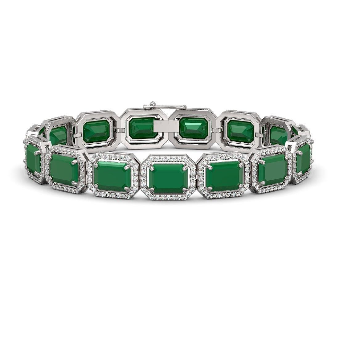 38.61 CTW Emerald & Diamond Halo Bracelet 10K White
