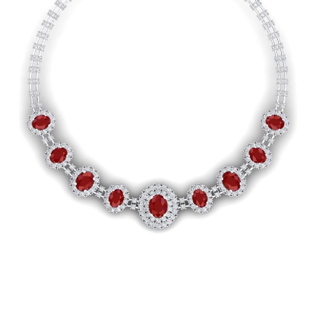 45.69 CTW Royalty Ruby & VS Diamond Necklace 18K White