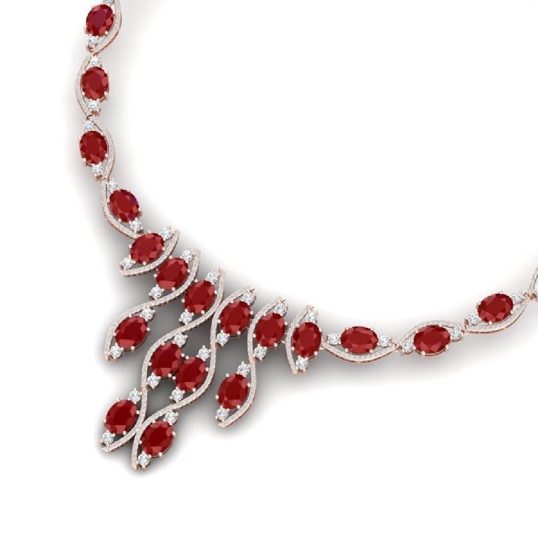 65.93 CTW Royalty Ruby & VS Diamond Necklace 18K Rose