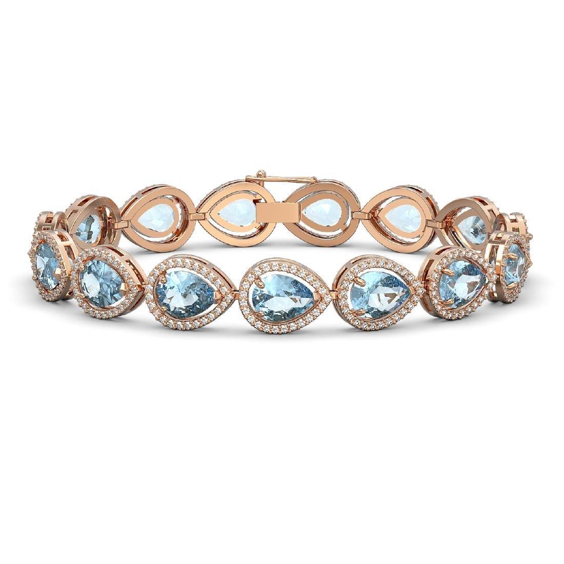 19.55 CTW Sky Topaz & Diamond Halo Bracelet 10K Rose