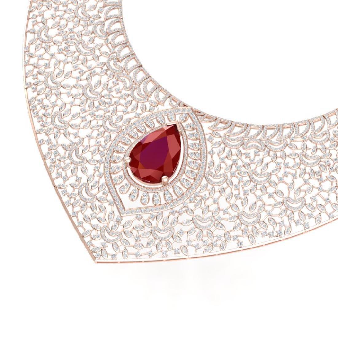 63.93 CTW Royalty Ruby & VS Diamond Necklace 18K Rose