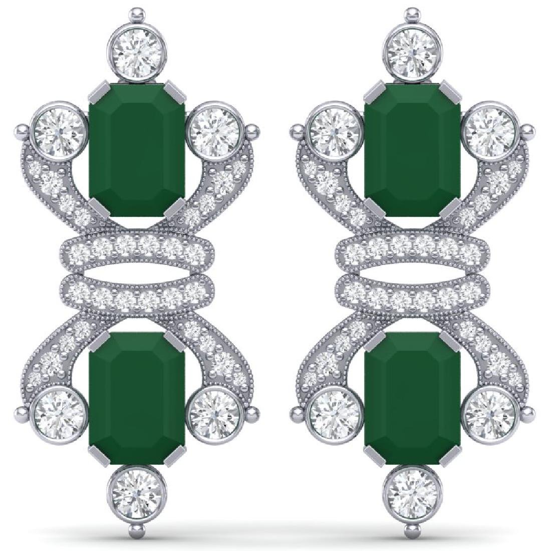 27.36 CTW Royalty Emerald & VS Diamond Earrings 18K