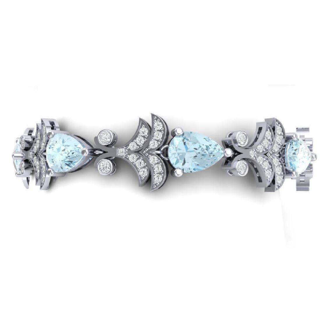 26.1 CTW Royalty Sky Topaz & VS Diamond Bracelet 18K