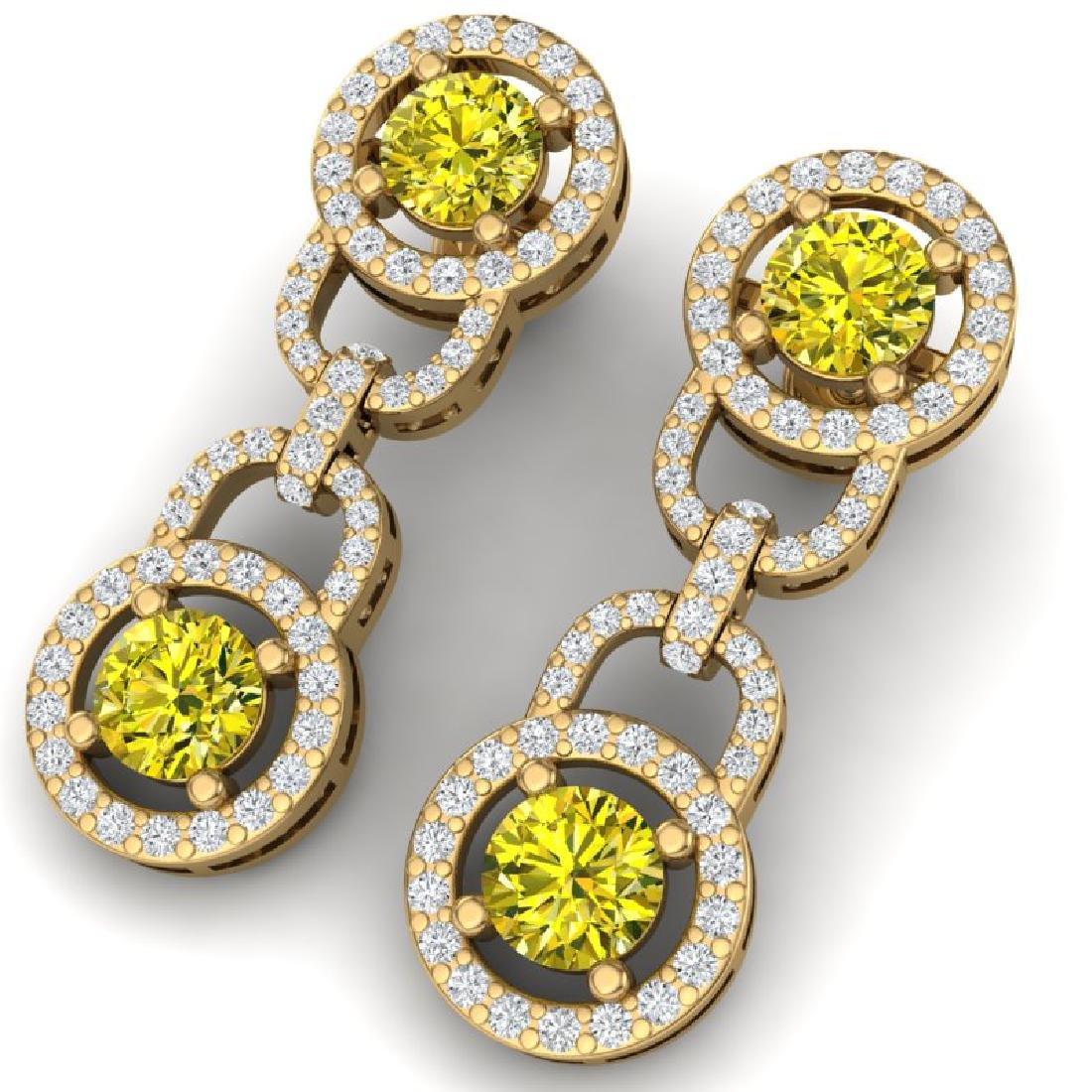 4 CTW SI/I Fancy Yellow And White Diamond Earrings 18K