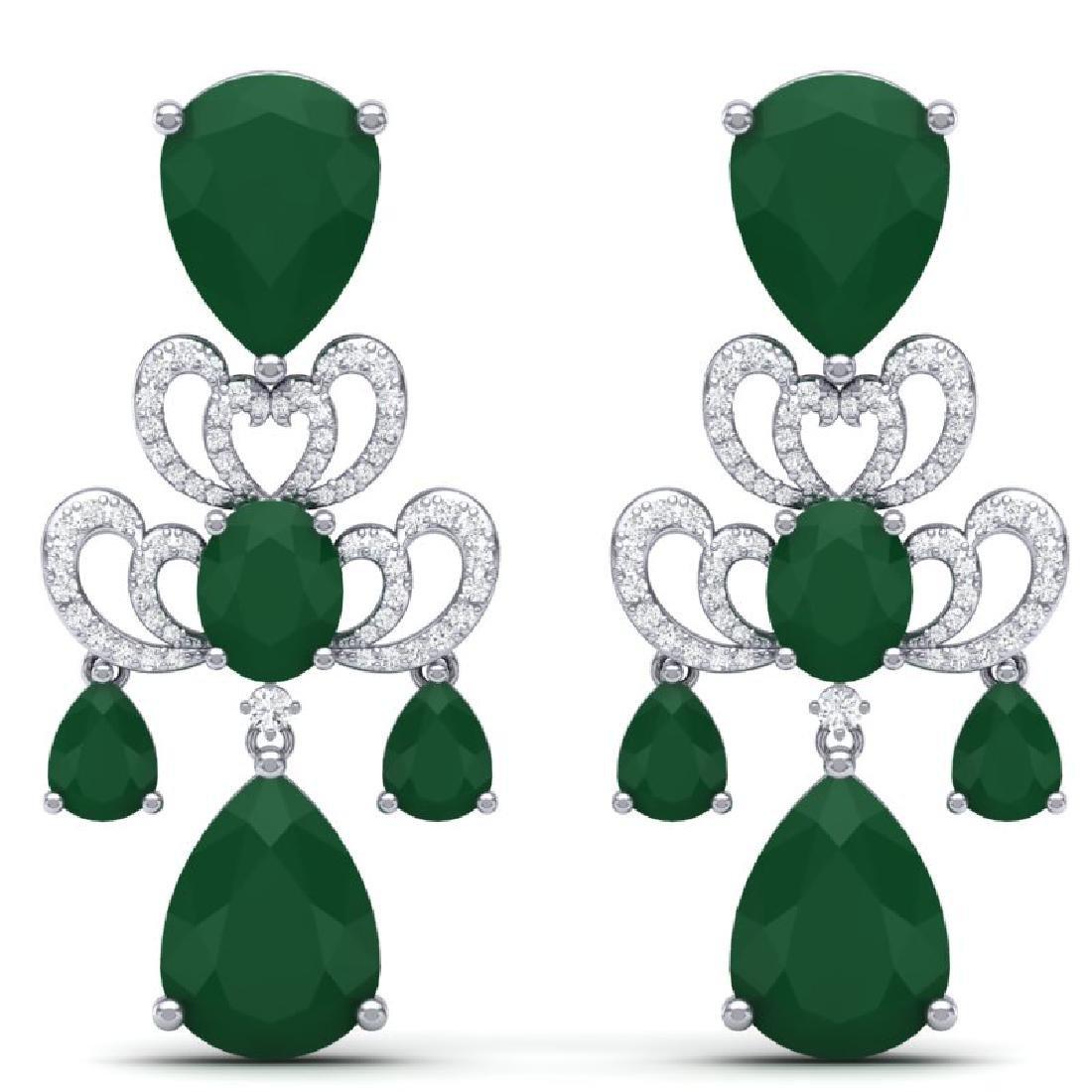 58.73 CTW Royalty Emerald & VS Diamond Earrings 18K
