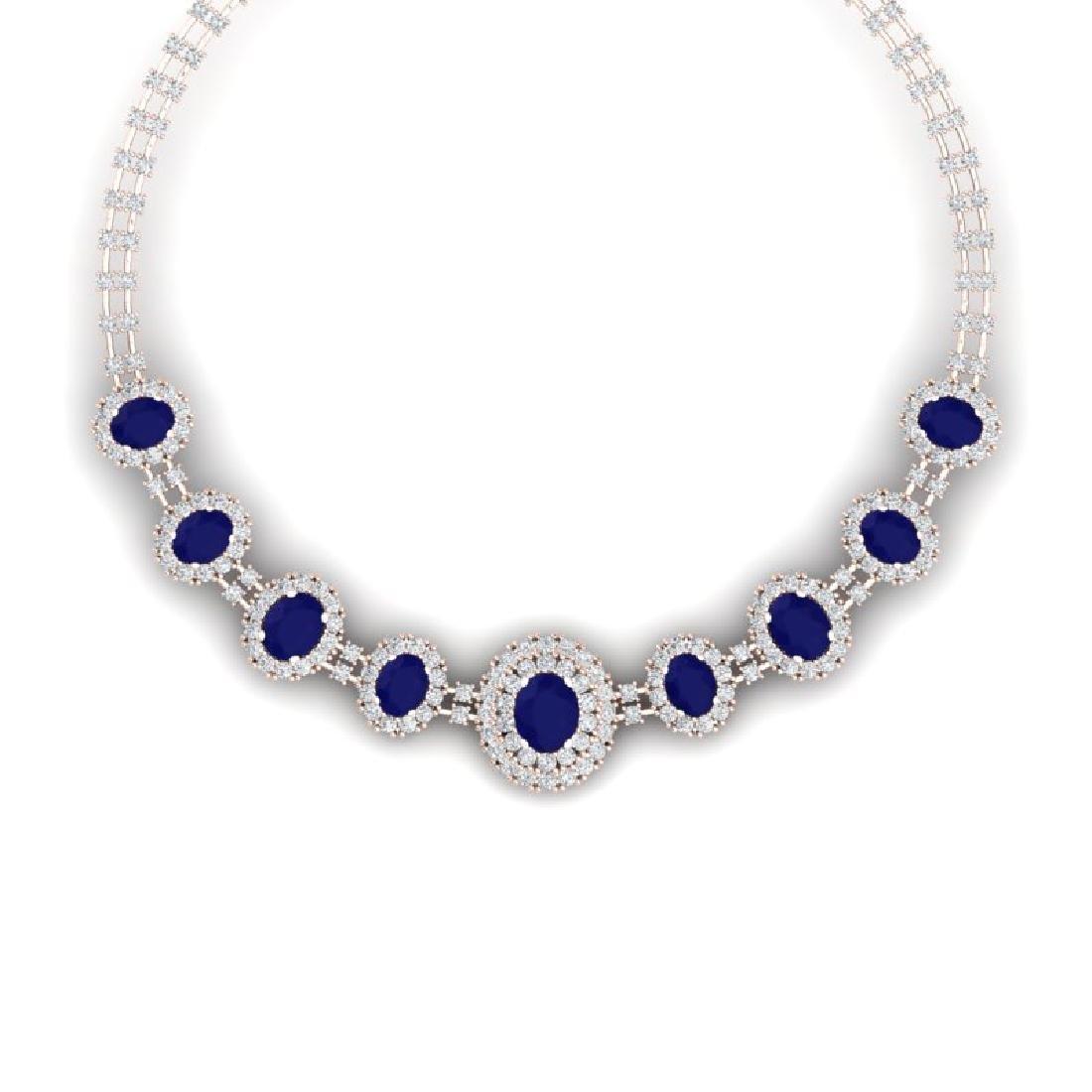 45.69 CTW Royalty Sapphire & VS Diamond Necklace 18K