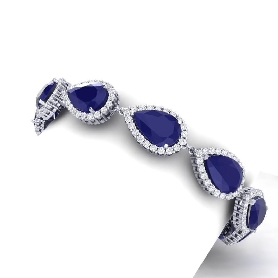 42 CTW Royalty Sapphire & VS Diamond Bracelet 18K White - 2
