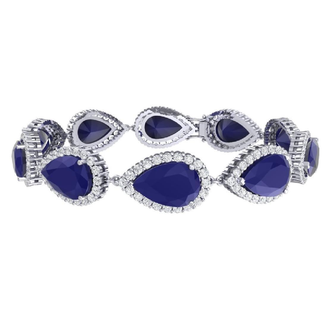 42 CTW Royalty Sapphire & VS Diamond Bracelet 18K White - 3