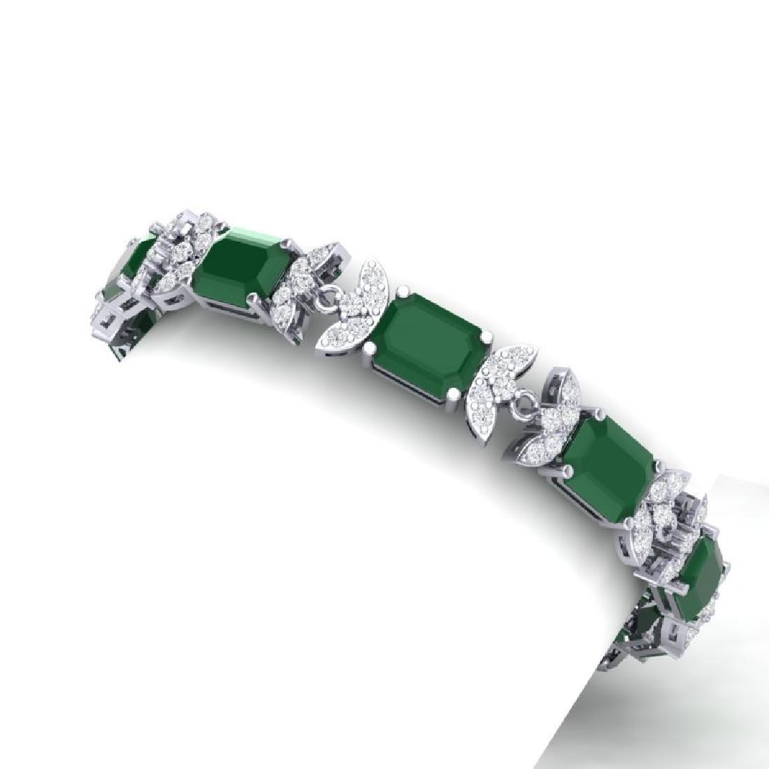 38.13 CTW Royalty Emerald & VS Diamond Bracelet 18K - 2
