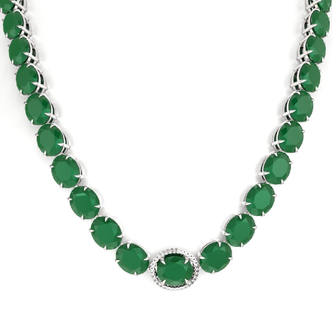 170 CTW Emerald & VS/SI Diamond Solitaire Necklace 14K - 2