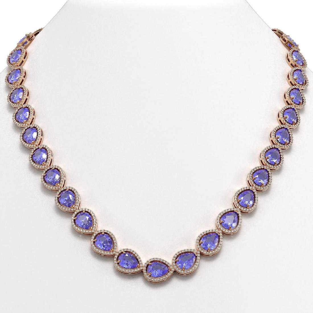 44.8 CTW Tanzanite & Diamond Halo Necklace 10K Rose