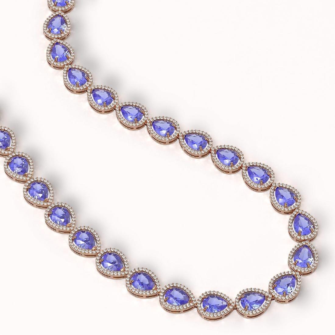 44.8 CTW Tanzanite & Diamond Halo Necklace 10K Rose - 2