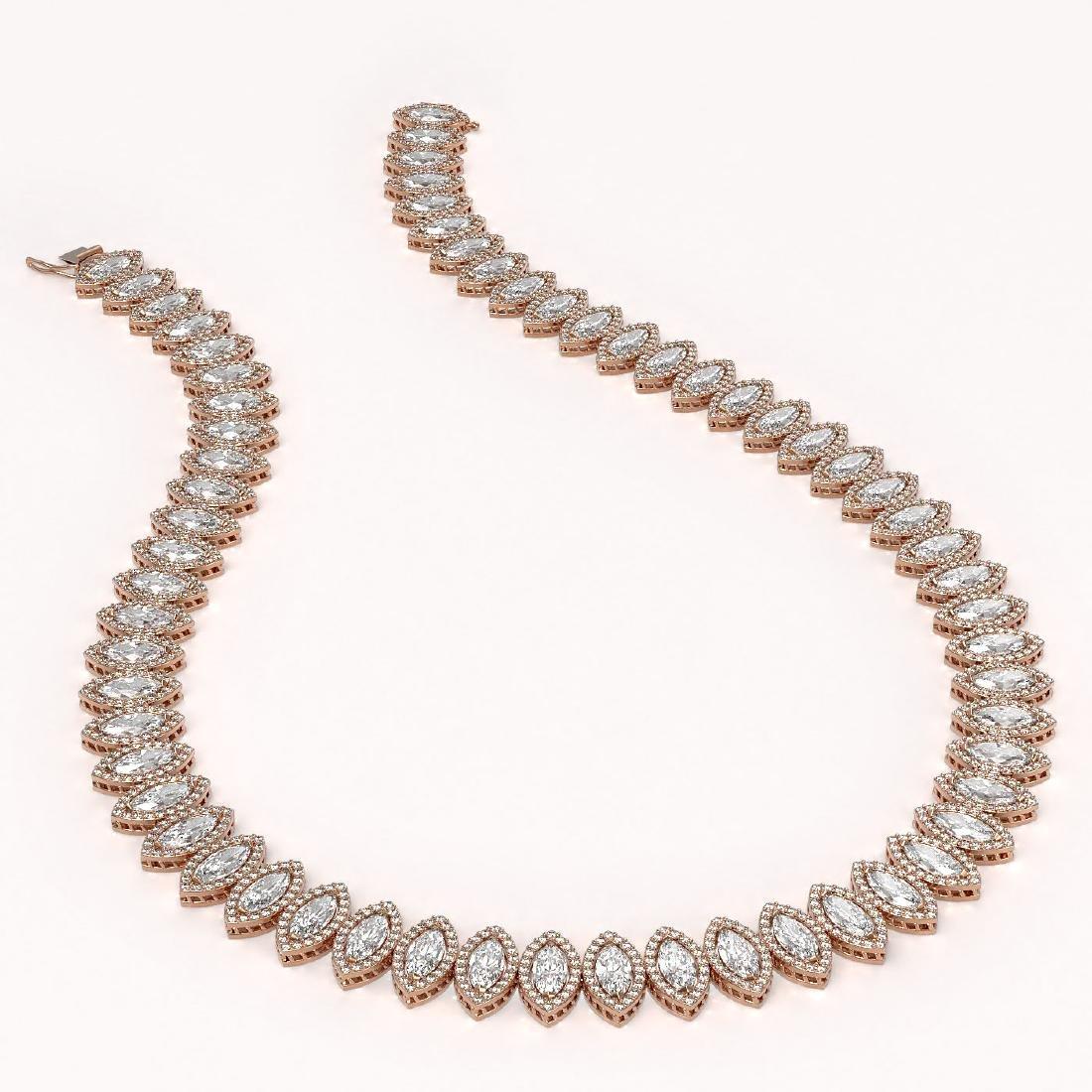47.12 CTW Marquise Diamond Designer Necklace 18K Rose - 2