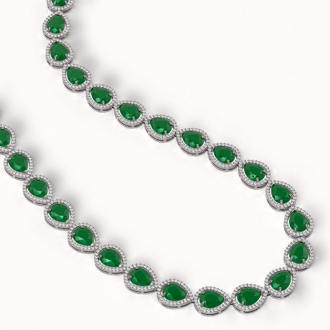64.01 CTW Emerald & Diamond Halo Necklace 10K White - 2