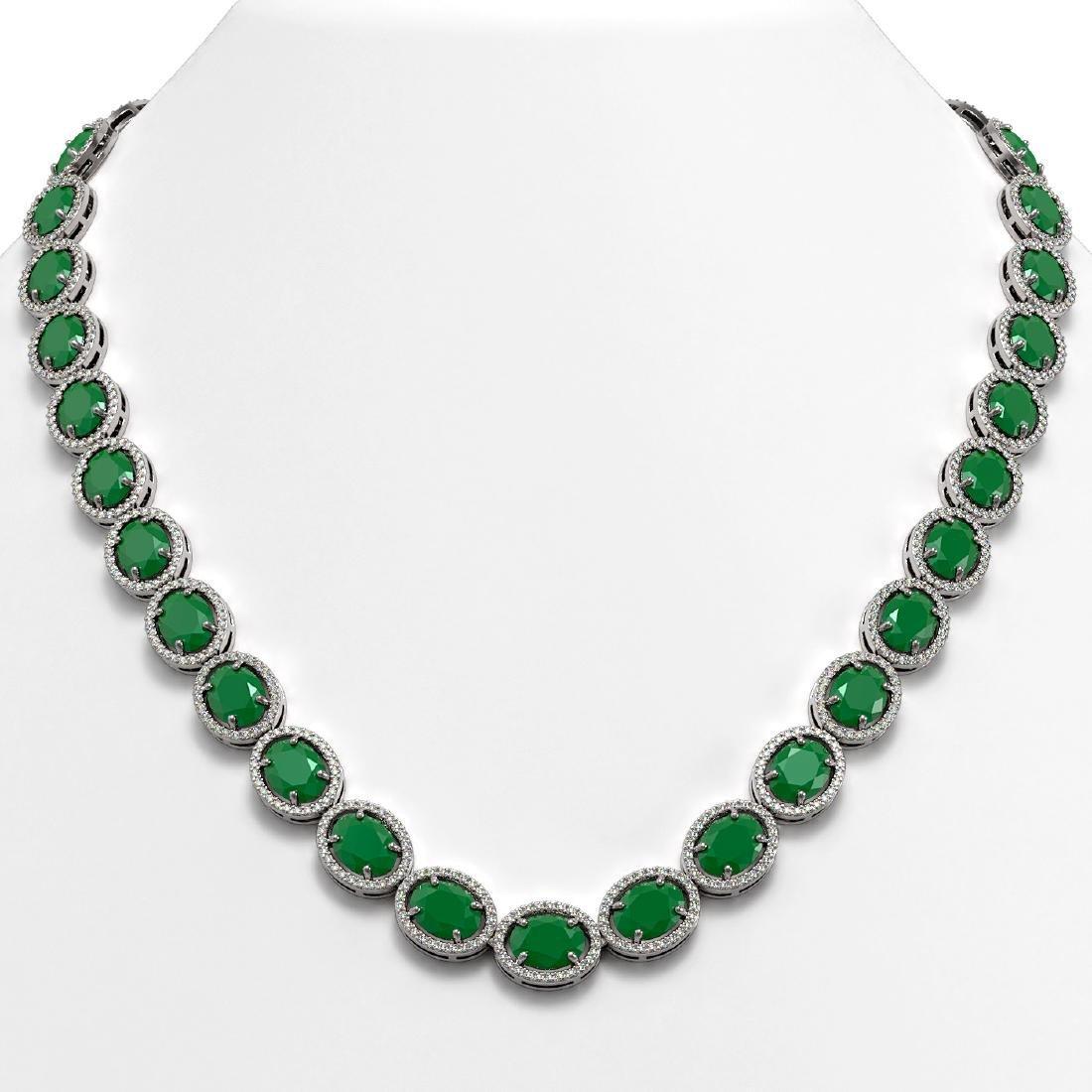 71.87 CTW Emerald & Diamond Halo Necklace 10K White
