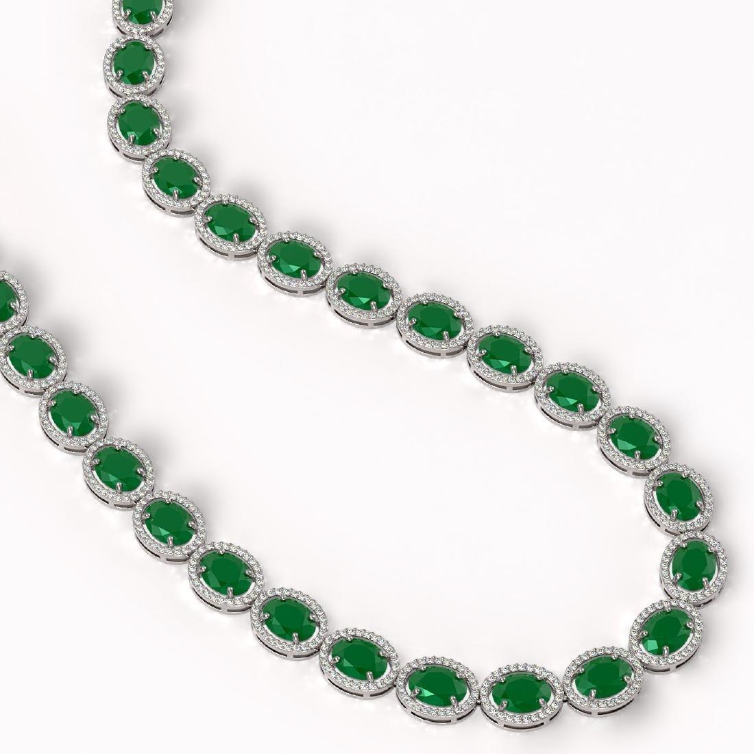 71.87 CTW Emerald & Diamond Halo Necklace 10K White - 2
