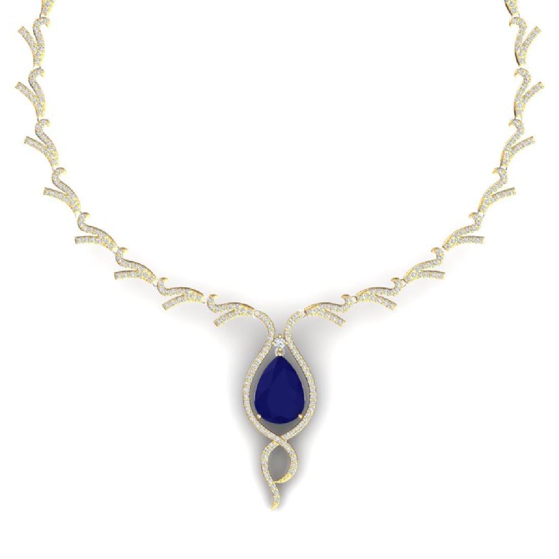 23.43 CTW Royalty Sapphire & VS Diamond Necklace 18K