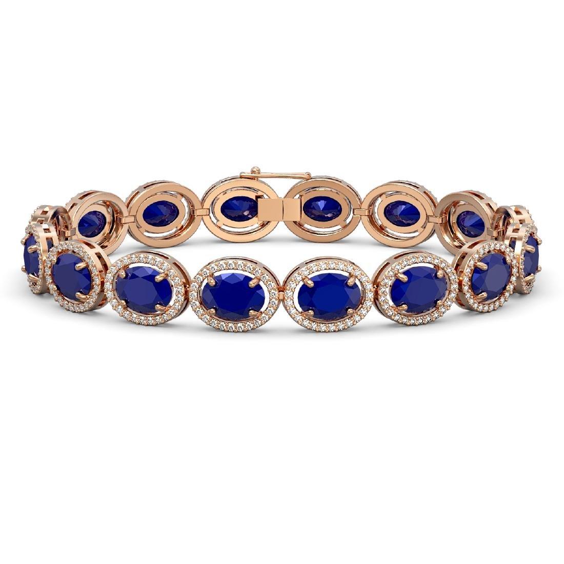 31.79 CTW Sapphire & Diamond Halo Bracelet 10K Rose