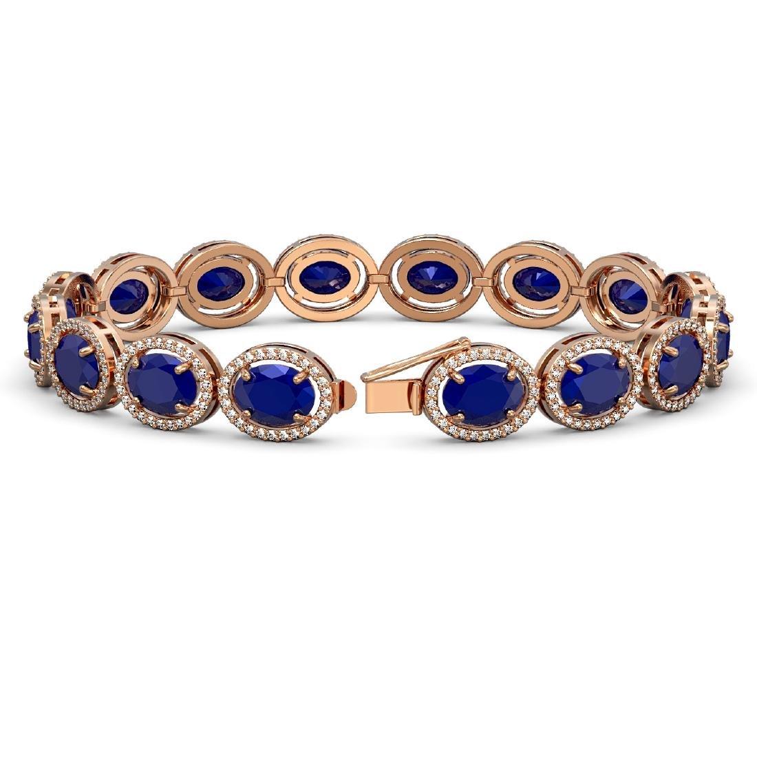 31.79 CTW Sapphire & Diamond Halo Bracelet 10K Rose - 2